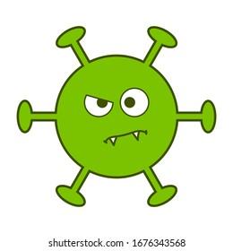 Digital drawing of an evil green virus, dangerous coronavirus, cartoon virus