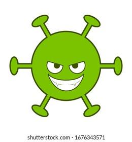 Digital drawing of an evil green virus, dangerous corona virus, angry cartoon virus