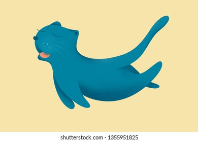 digital drawing of happy cat jumping on cream background