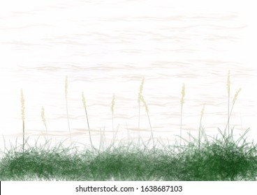 Digital drawing illustration of a river bank scene with grasses and ripple water with space for runaround or wraparound text or haiku poem