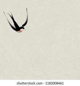 Digital drawing illustration of a swallow bird flying on Japanese style parent paper with copy space for text haiku zen poem or note. Can be used for card, background or stationery set