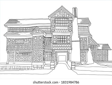 A digital drawing of the Little Moreton Hall, an Elizabethan era Tudor house, near Congleton, in Cheshire