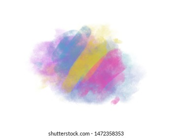 Digital drawing watercolor on white background. Multicolored Illustration Digital.