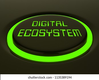 Digital Eco System Data Interaction 3d Rendering Shows Internet Ecosystem Structure And Technology Across The Globe