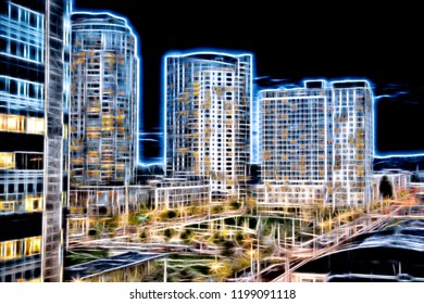 A digital effects picture of apartment buildings in an urban area with vibrant light and colors at night.