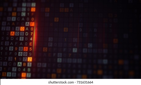 Digital encrypted code on monitor. Computer designed technology concept rendered with DOF