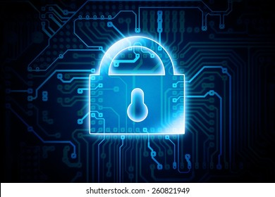 Digital Encryption Lock Conceptual Illustration. Data Safety in IT Technology.