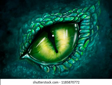 digital eye of dragon, illustration dinosaur game concept background