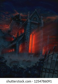 Digital fantasy painting or illustration of terrifying and mysterious church and graveyard. Red evil light is coming from church windows. Frightening Halloween scene.