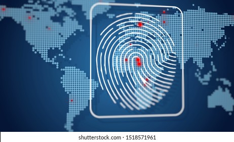 Digital fingerprint data protection, users connecting worldwide, map red dots