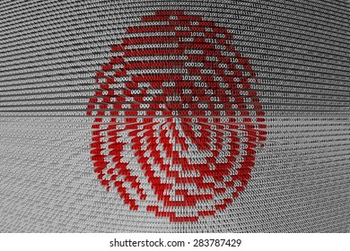 digital fingerprint in the form of binary code, 3D illustration