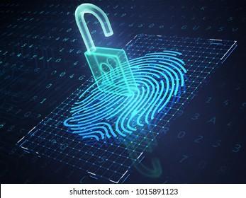 Digital fingerprint and padlock on phone screen, symbolise unlock process. 3D illustration
