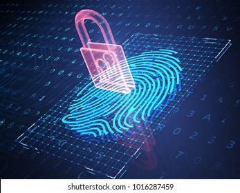 Digital fingerprint and padlock on phone screen, symbolise unlock process. 3D illustration.