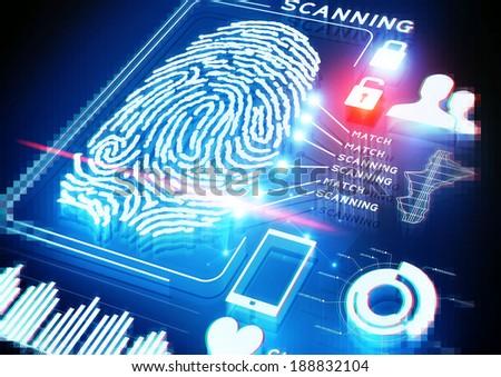 Digital Fingerprint Scanning Background em ilustração stock