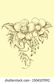 digital flower motive, flower print