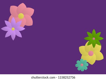 Digital flowers on a purple background