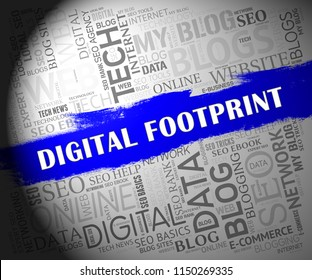 Digital Footprint Website Cyber Track 2d Illustration Shows Evidence Of Online Websites Visited Or Virtual Trail