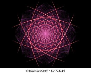 Digital fractal geometric abstract floral design