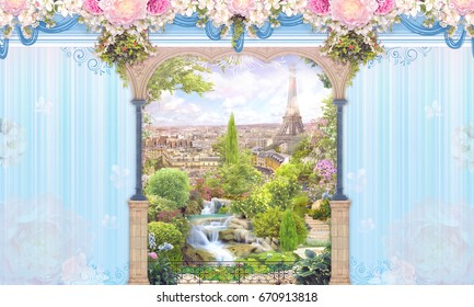 Digital fresco. A blue wall with vertical stripes, an arch, pink flowers, a view of Paris and an apple tree.