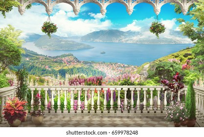 Digital fresco. Lovely balcony with views of the mountains and the sea. Flowers of lupine, arch.