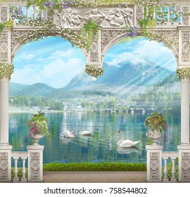 Digital fresco. White arch with a view of the mountains and swans. Modular panno. Digital fresco.