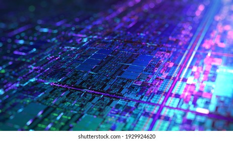 Digital Futuristic Chip, microchip processor with neon lights. Quantum computer, large data processing, database concept. Central Computer Processors CPU graphic. 3D rendering