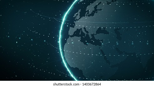 Digital Futuristic Globe with dots and circling. Digital Earth Glowing line and wire frame. 3D rendering.