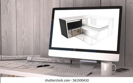 Digital generated architect workplace with plots and computer with house model software. All graphics are made up.  3d illustration.