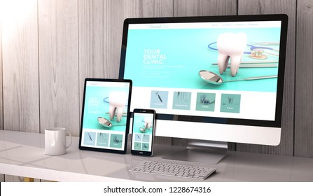 Digital generated devices on desktop, responsive dental clinic website design on screen. All screen graphics are made up. 3d rendering.
