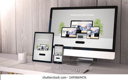 Digital generated devices on desktop, responsive cool website design on screen. All screen graphics are made up. 3d rendering.