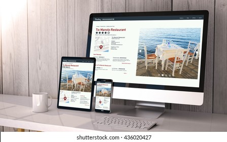 Digital generated devices on desktop, responsive blank mock-up with online directory website  on screen. All screen graphics are made up. 3d rendering.