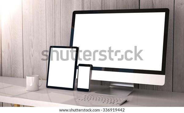 Digital generated devices on desktop, responsive blank mock-up.