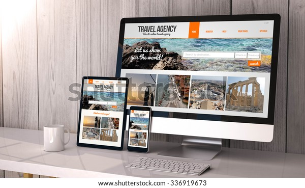 Digital generated devices on desktop, responsive blank mock-up with travel agency website  on screen. All screen graphics are made up.
