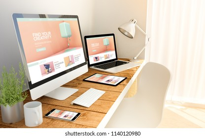 Digital generated devices over a wooden table with cretivity tutorials website All screen graphics are made up. 3d rendering