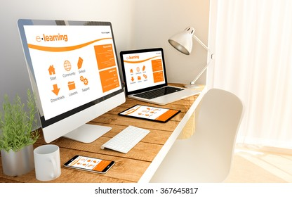 Digital generated office with devices over a wooden table with elearning website. All screen graphics are made up. 3d illustration.