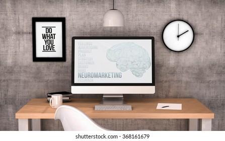 digital generated workspace desktop with neuromarketing on screen computer. All screen graphics are made up. 3D illustration.