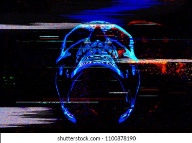 Digital glitch art neon skull illustration of 3D rendering.