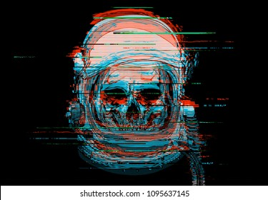 Digital glitch astronaut skull illustration.