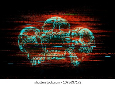 Digital glitch illustration of three screaming skulls.