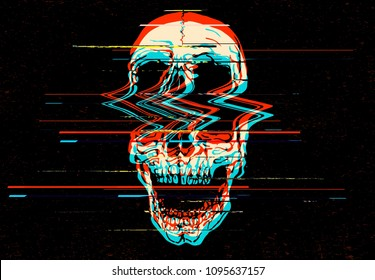 Digital glitch screaming skull illustration.