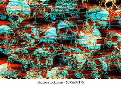 Digital glitch skulls pattern illustration.
