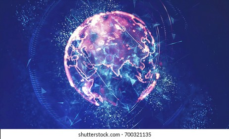 Digital Globe Network and Global Connections Concept, 3D rendering.
