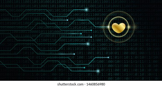 digital golden heart on binary code background online dating concept illustration