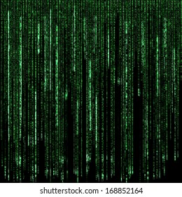 Digital green numbers and letters as code rain on a black background