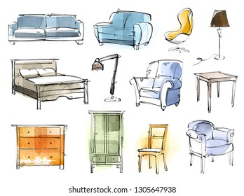 Digital and hand drawing furniture pieces, isolated on white background.
