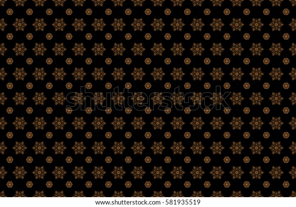 Digital hand drawn of element in the clean, whimsical and modern surface pattern on black background in brown and orange colors. Raster snowflakes and christmas winter pattern.