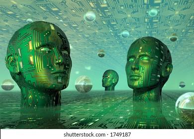 Digital heads in cyber space