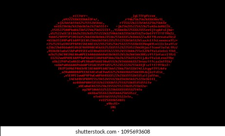 A digital heart made of ASCII characters. Red on a black background.