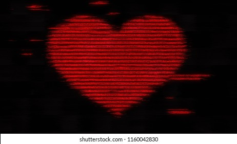 A digital heart made of ASCII characters, distorted by a heavy noise glitch effect. Red on a black background.