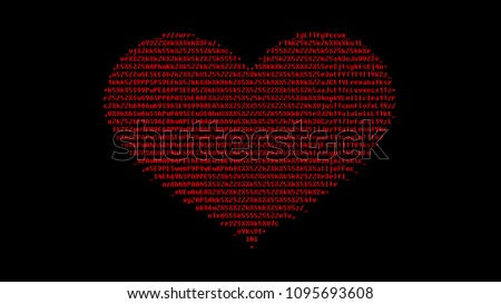 Digital Heart Made Ascii Characters Red Stock Illustration Royalty